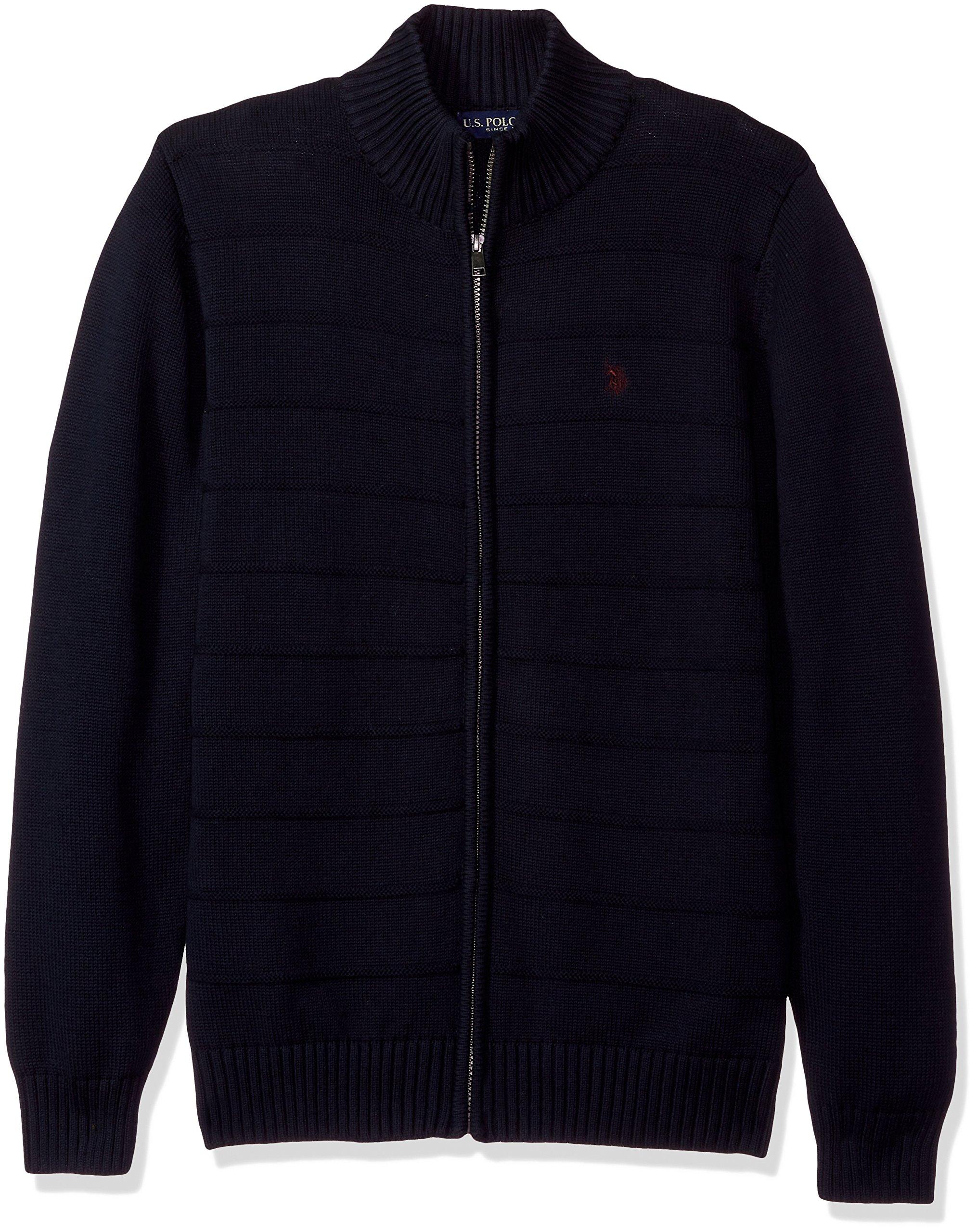 U.S. Polo Assn. Men's Texture Fine Stripe Full Zip Sweater, Navy, X-Large