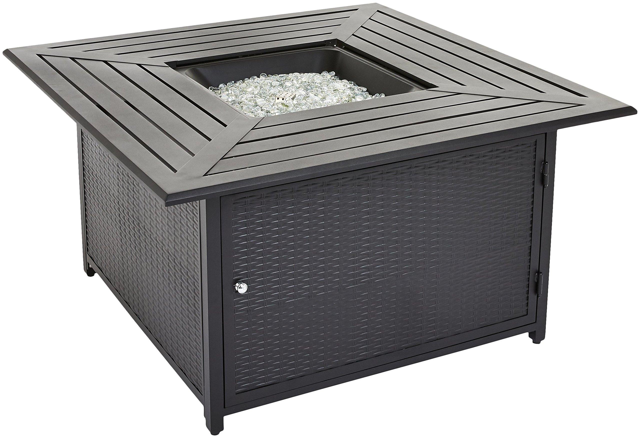 AmazonBasics Outdoor Patio Propane Table Fire Pit, Black