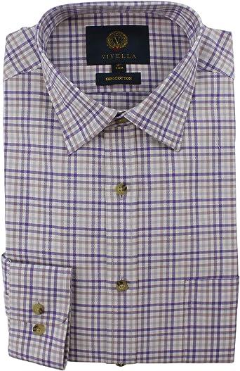 Viyella - Camiseta de Manga Larga para Hombre (algodón), diseño de Cuadros, Color Morado: Amazon.es: Ropa y accesorios