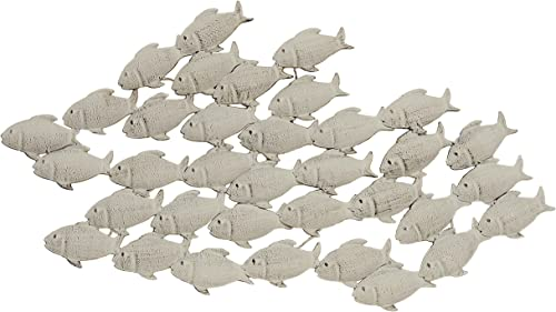 WHW Whole House Worlds Cape Cod Large School of Fish, Hand Crafted Metal Wall Decor, Antiqued and Distressed Sand Color, 3 Ft 2 Inches Long 38.25 Inches- 97 cm