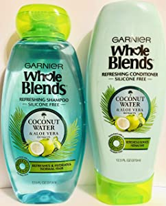 Garnier Whole Blends Haircare - Coconut Water & Aloe Vera - Refreshing Shampoo & Conditioner Set - Net Wt. 12.5 FL OZ (370 mL) Per Bottle - One Set