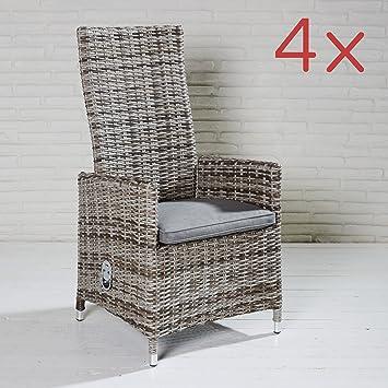 4 Sillas Jardín SEVILLA ratán Posición Sillas con respaldo alto sillón de jardín muebles de jardín