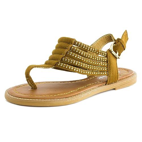 44f7f7f79ad5 Link Girls Rhinestone Thong Gladiator Flat Sandals