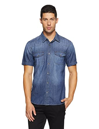 a55695f4b3 GUESS Men s Western Slim Denim Shirt at Amazon Men s Clothing store