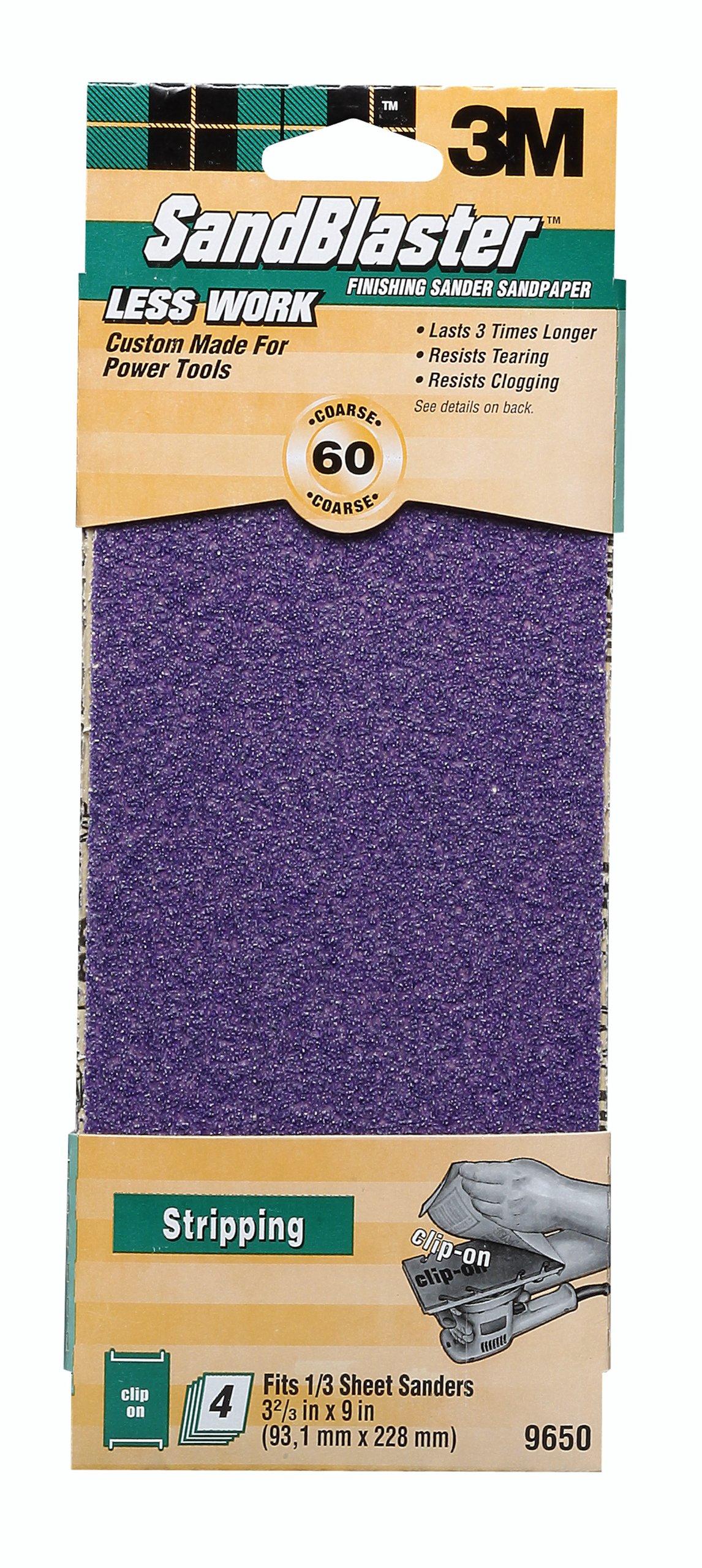 3M SandBlaster 9650 60-Grit Power Sanding Sheets, 4-Pack