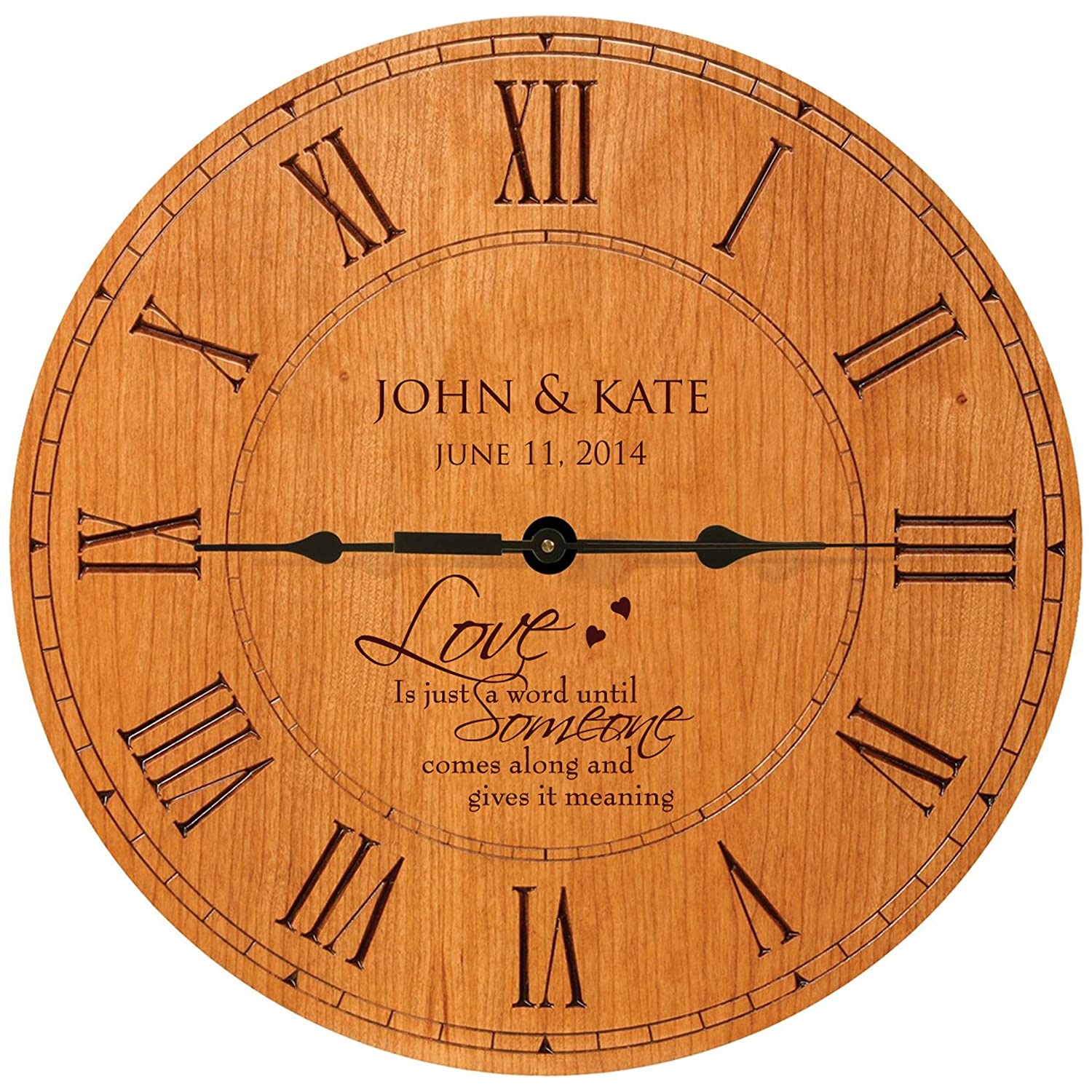 Amazon personalized wedding gifts modern decorative wall amazon personalized wedding gifts modern decorative wall clocks housewarming anniversary gifts for couple 12x12 by dayspring milestones cherry amipublicfo Images
