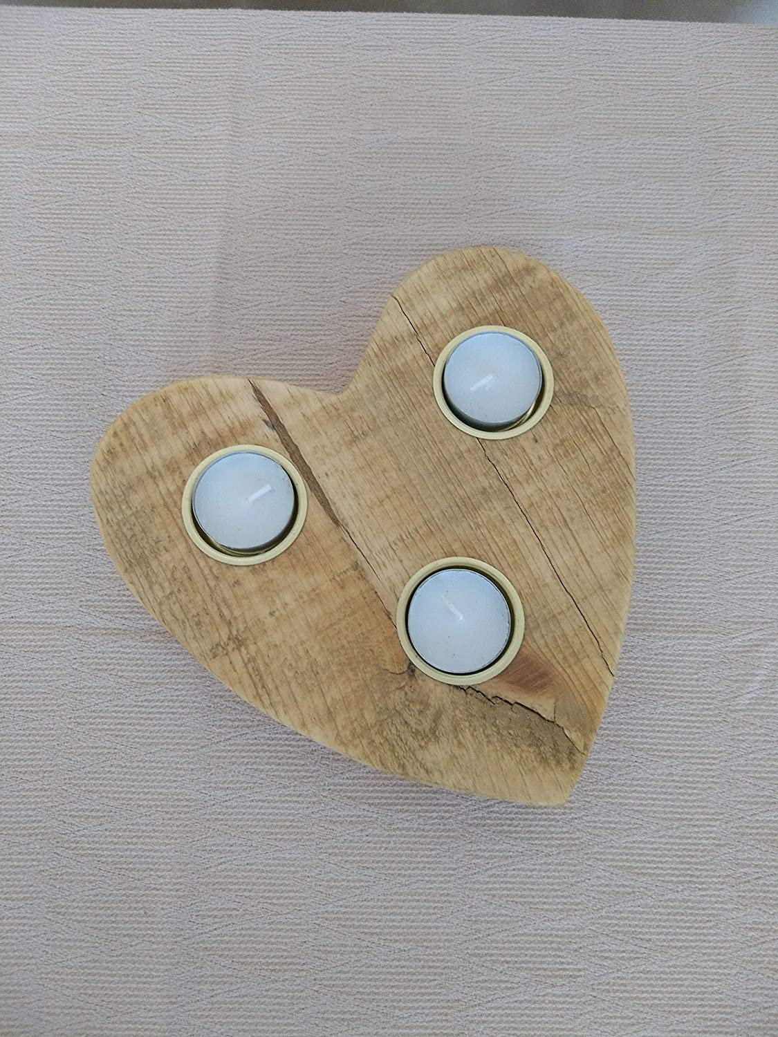 5th Anniversary Gift Valentines Day Gift  Wooden Heart Tealight Candle Holder