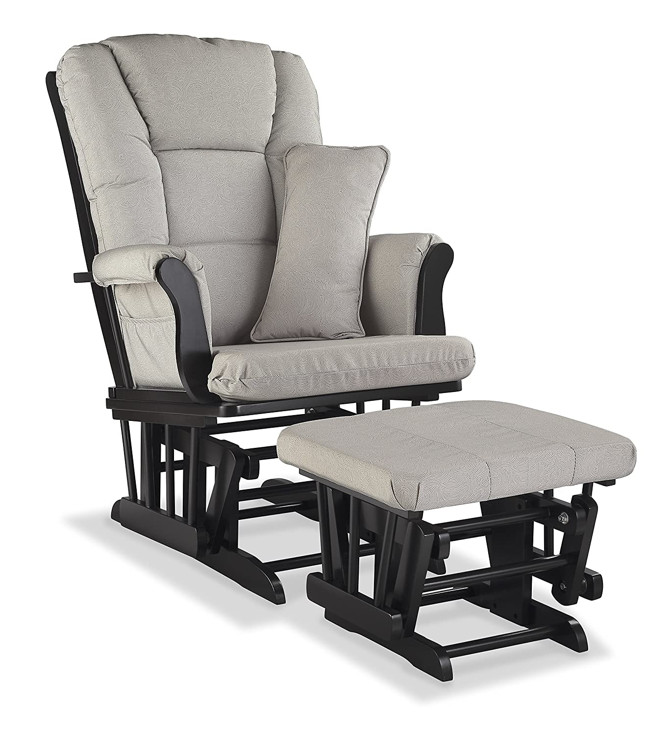 Storkcraft Tuscany Custom Glider and Ottoman with Free Lumbar Pillow, Espresso/Beige Stork Craft 06554-519