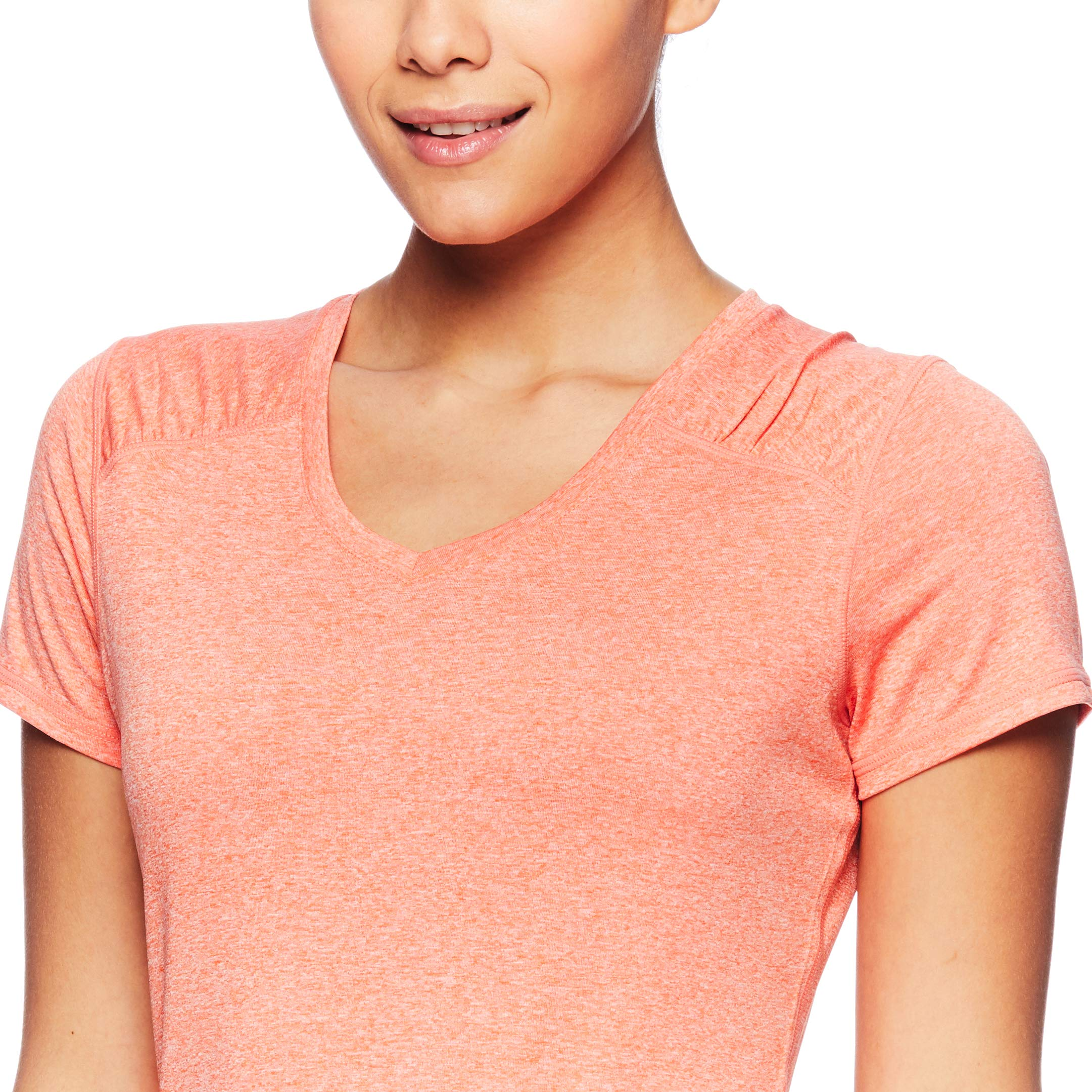 HEAD Women's Brianna Shirred Short Sleeve Workout T-Shirt - Marled Performance Crew Neck Activewear Top - Brianna Peach Echo Heather, X-Small by HEAD (Image #4)