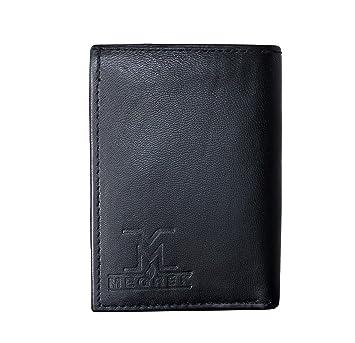MEGREK Men`S Black 3 FOLD Genuine Leather Wallet  6 Card Slots  Wallets
