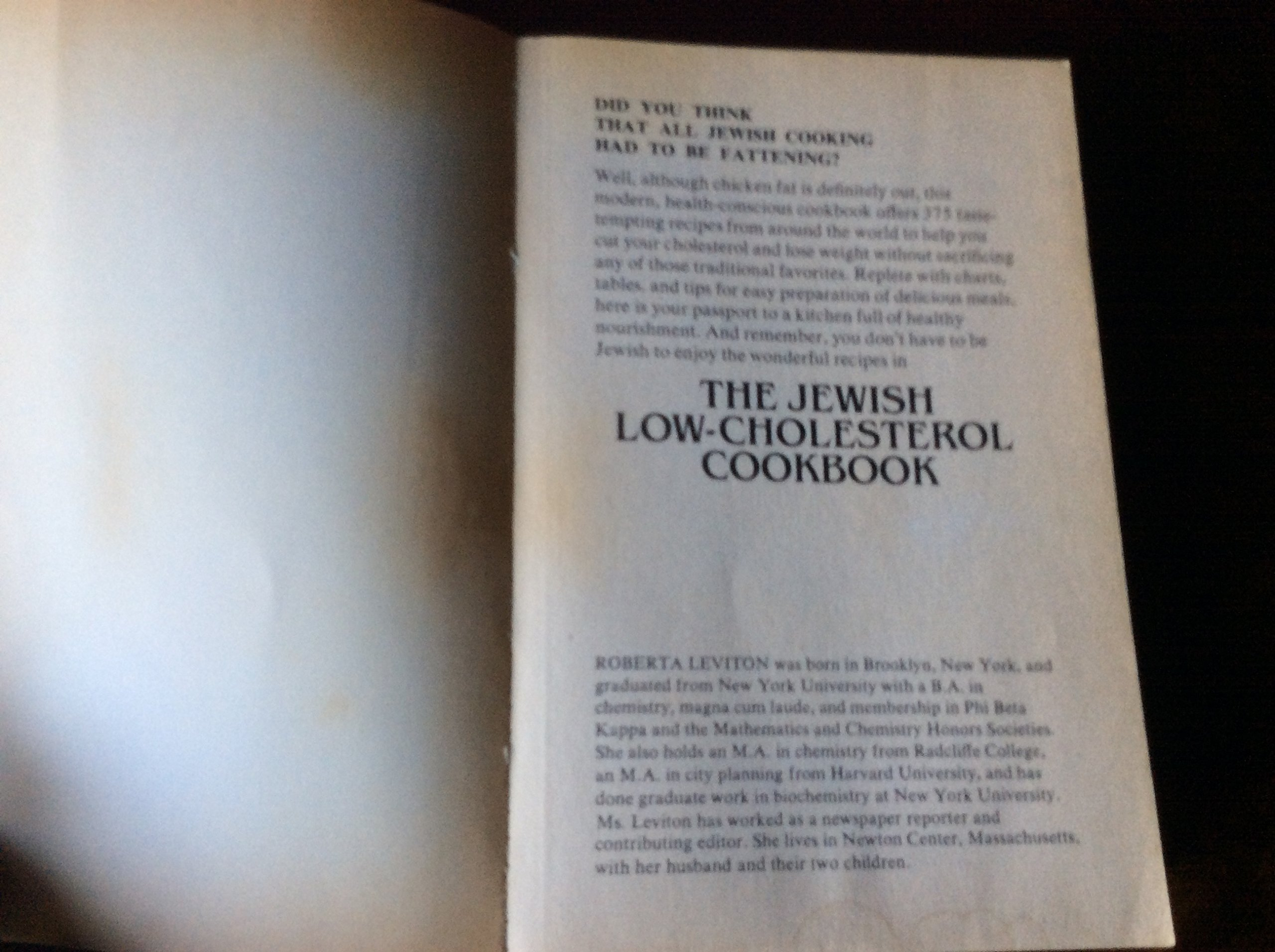 The Jewish Low-Cholesterol Cookbook: Roberta Leviton: 9780452256989 ...