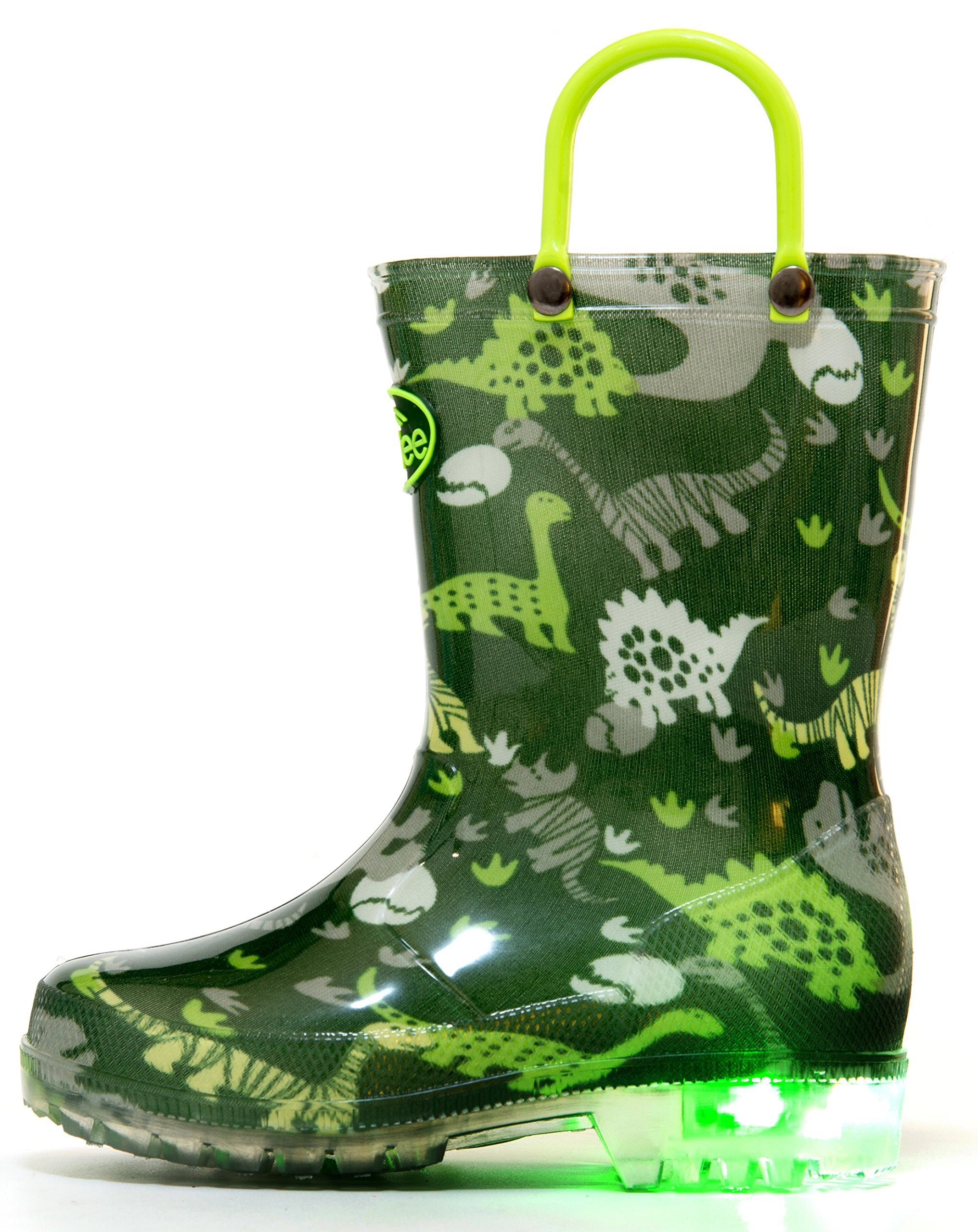 Outee Kids Toddler Boys Rain Boots Waterproof Light Up Lightweight Green Dinosaur Cute Lovely Funny Print with Easy-On Handles Classic Comfortable (Size 12,Green)