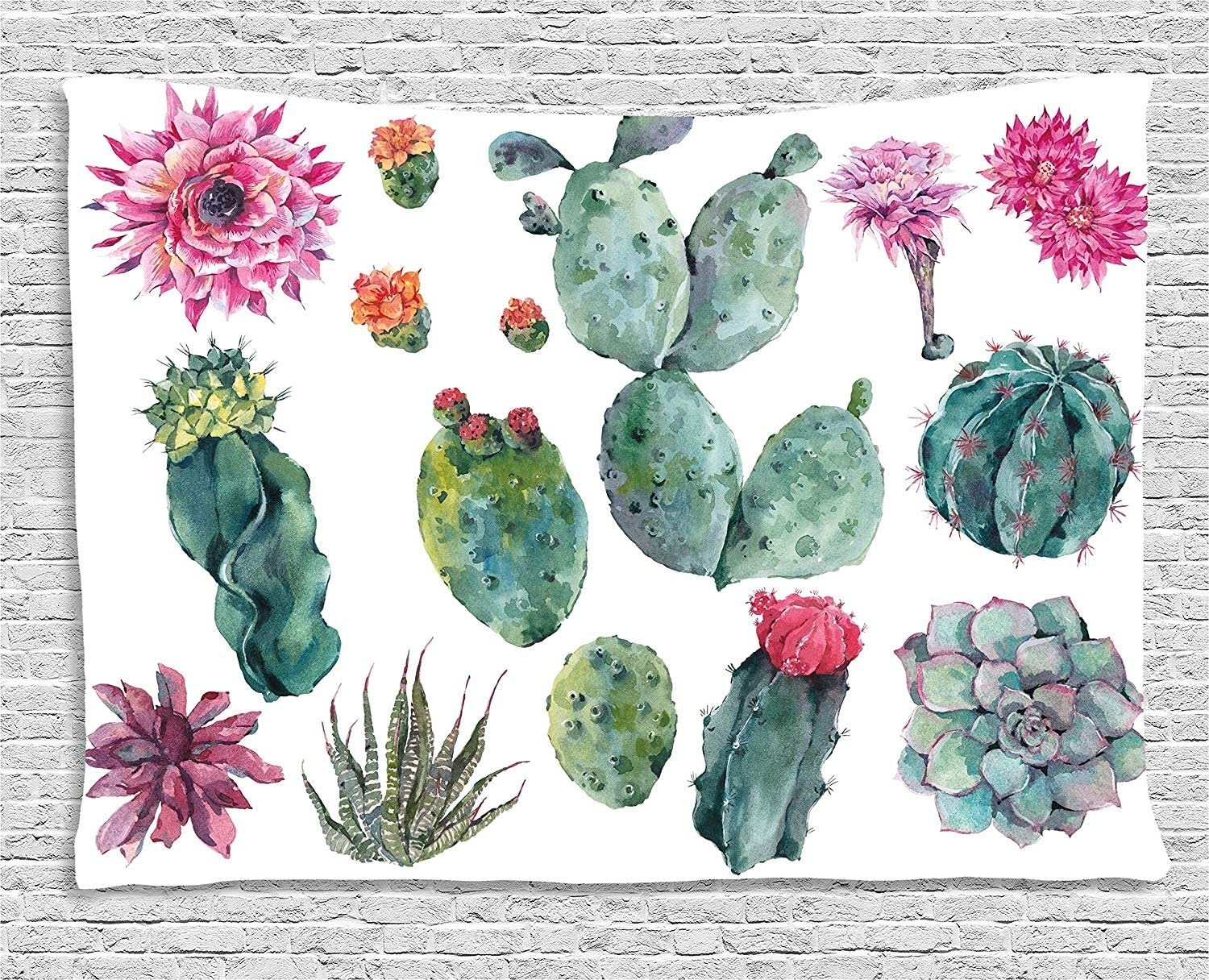 Ambesonne Nature Tapestry, Desert Botanical Herbal Cartoon Style Cactus Plant Flower with Spikes Print, Wide Wall Hanging for Bedroom Living Room Dorm, 80