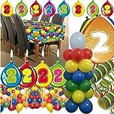 63-teiliges Deko-Set für den * 2. GEBURTSTAG * // mit Tischdecke, Wimpelkette, Kerzen und Deko // Dekoration Kinder Kindergeburtstag zweiter