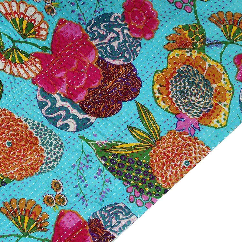 Sophia Art Couvre lit indien R/éversible Bleu Gudri Coton pur Style kantha Queen Size Couette polycoton Motif floral et fruits Imprim/é D/écoratif 228 x 274 cm Coton turquoise 90X108 inches