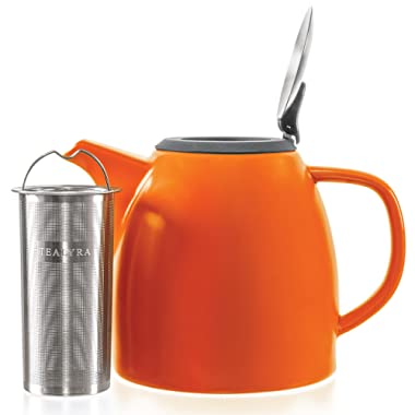 Tealyra - Drago Ceramic Teapot - 37oz (4-6 cups) - Large Stylish Teapot with Stainless Steel Lid Extra-Fine Infuser To Brew Loose Leaf Tea - BPA-Free - Orange