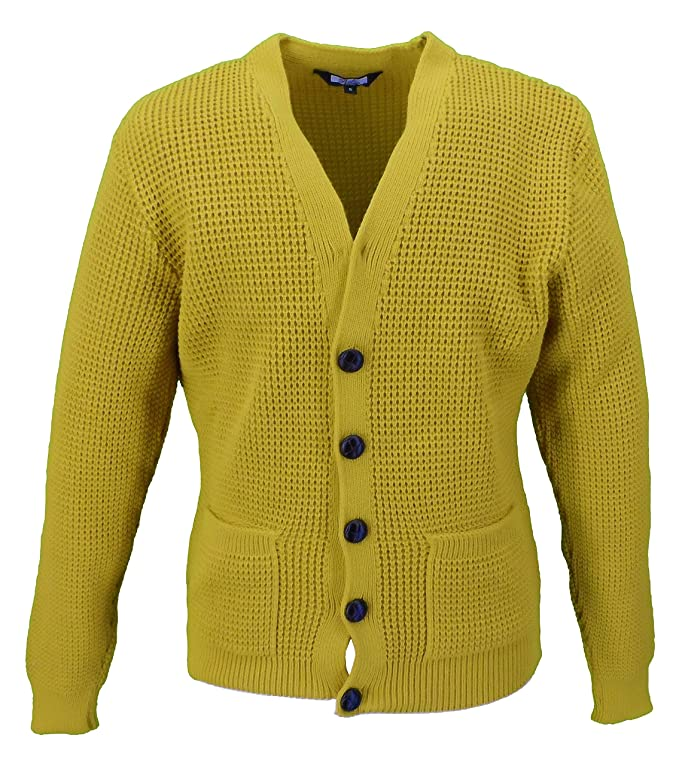 60s 70s Men's Jackets & Sweaters Relco Mens Retro Waffle Knit Cardigan with Pockets £34.99 AT vintagedancer.com