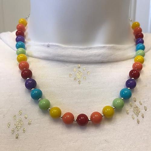 7c09c5b52cca6 Amazon.com: Rainbow Glass Beads Handmade Necklace: Handmade