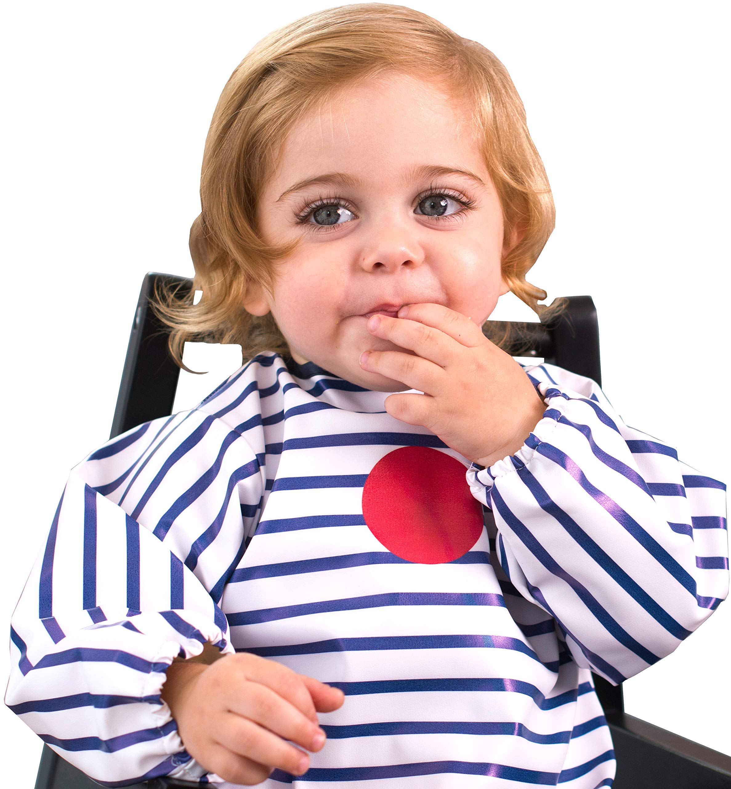 Baby-to-Love Smock, Long Sleeve Waterproof Art Bib Toddler 5-20mo (Blue Stripes)
