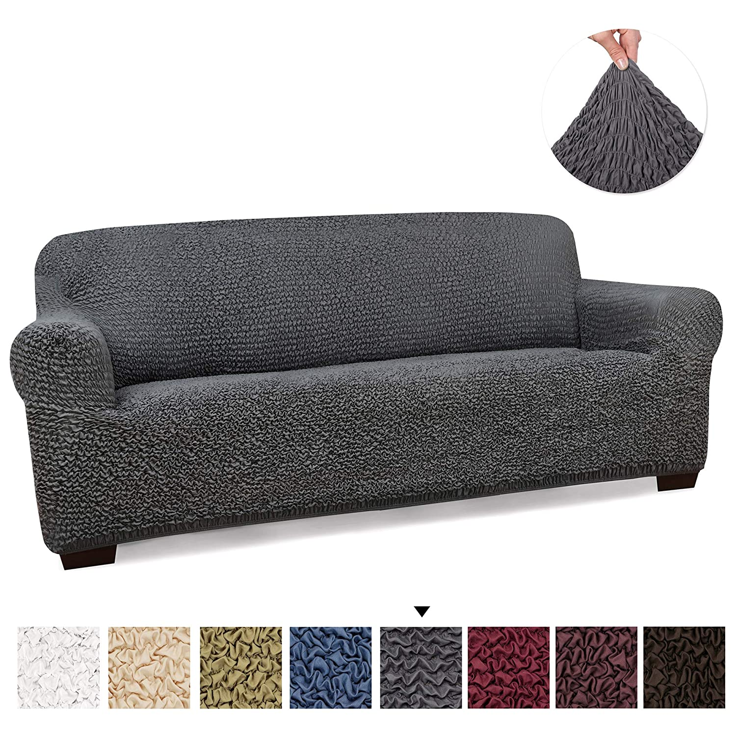 PAULATO BY GA.I.CO. Couch Cover - Sofa Cover - Sofa Slipcover - Soft Polyester Fabric Slipcover - 1-Piece Form Fit Stretch Stylish Furniture Cover - Microfibra Collection - Grey (Sofa)