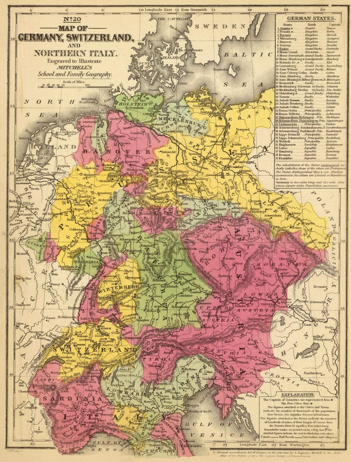 School Atlas | 1847 Germany, Switzerland, N. Italy. | Historic Antique Vintage Map Reprint