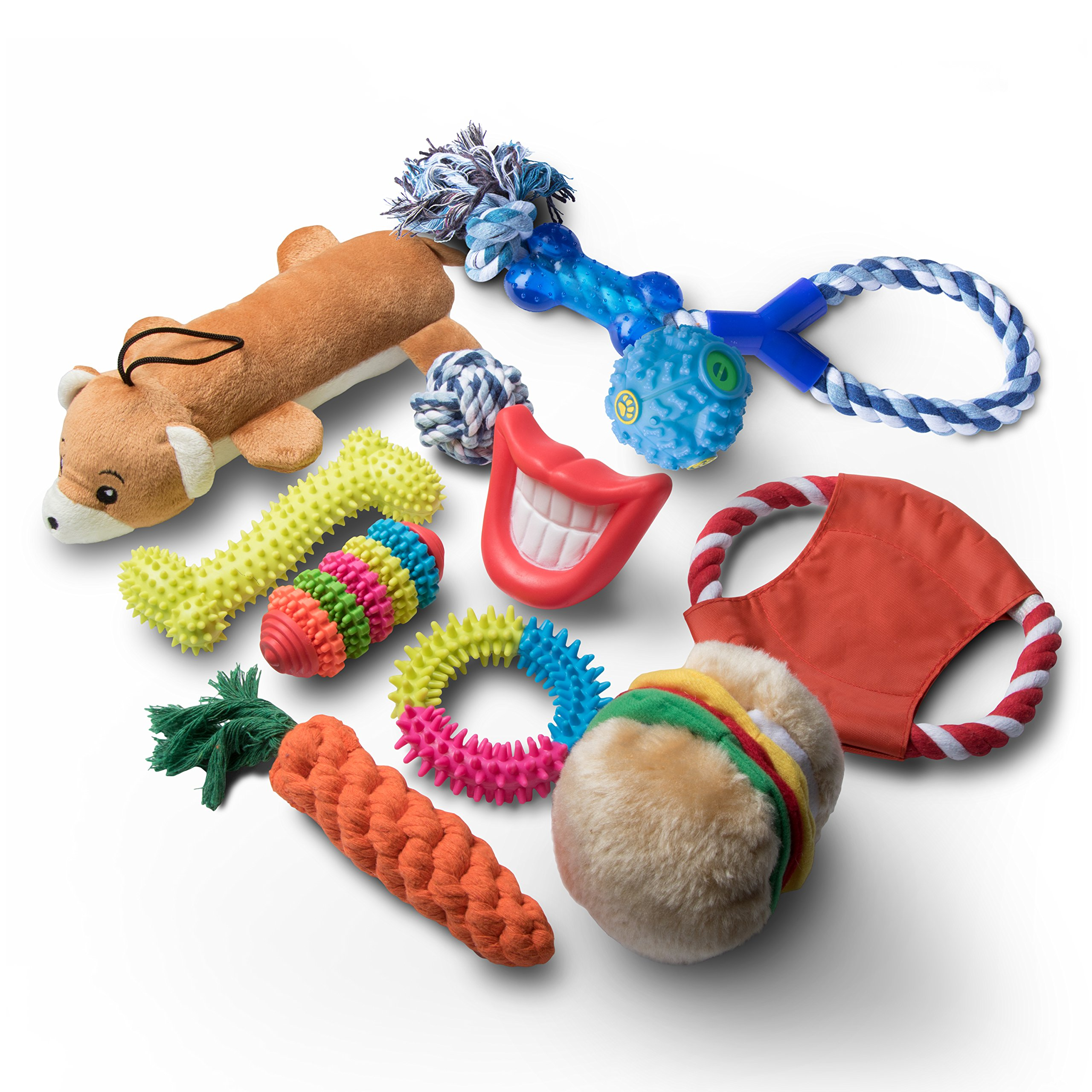 Livin' Well Dog Chew Toys - 11 Pc Value Pack Dog Toys Aggressive Chewers Dog Toys Boredom + Dog Toys Small Dogs Large Dogs
