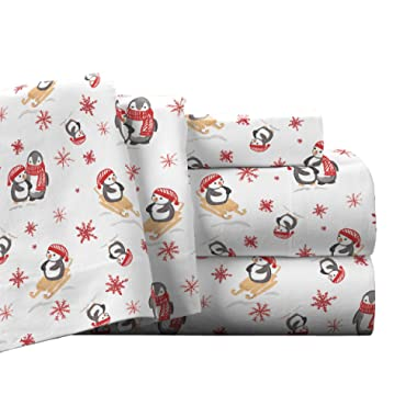 Pointehaven Flannel Deep Pocket Set with Oversized Flat Sheet, King, Penguin