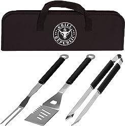 Grill Republic Premium Grillbesteck-Set (3-teilig) Durchdachtes BBQ Grill-Zubehör (Extra Lang) aus Edelstahl mit Hochwertiger Tragetasche | Große Grill-Zange, Grill-Gabel und Grill-Wender