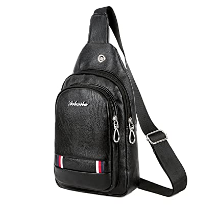 89a1ddff5ea0 Image Unavailable. Image not available for. Color  Leather Sling Chest Bag  For Men Waterproof Backpack Single Shoulder Crossbody Bags
