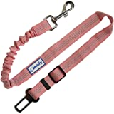 Zenify Dog Car Seat Belt Extendable Leash - Bungee Lead for Dogs Puppies - Pet Adjustable Elastic Seatbelt Harness Vehicle Safety Birthday Road Trip Gift Idea (Pink)