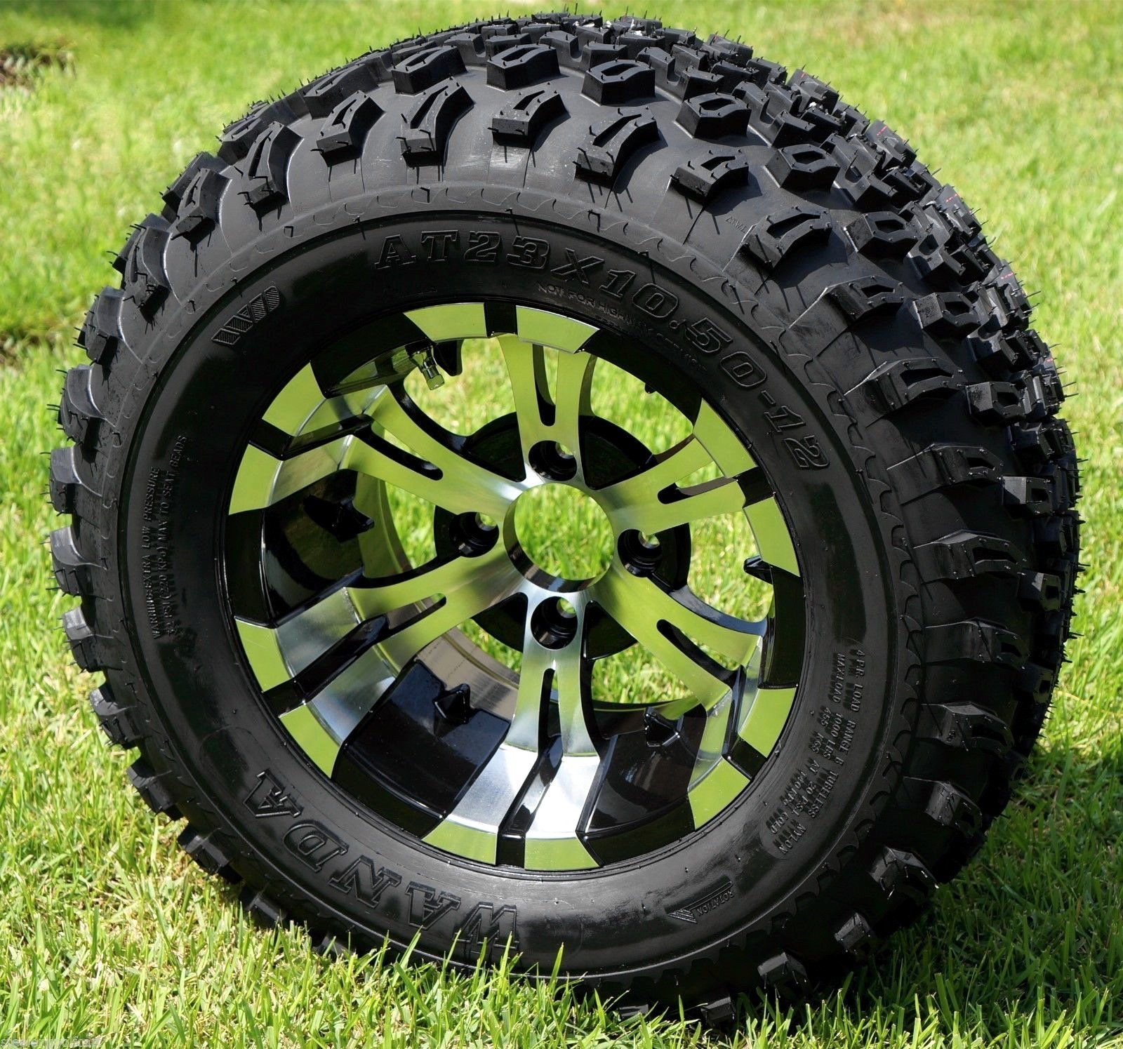 GOLF CART 12''X 7'' VAMPIRE ALUMINUM WHEELS & 23'' ALL TERRAIN TIRES-SET OF 4