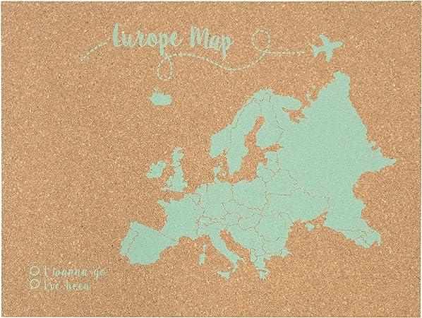 Decowood - Mapa de Corcho Europa, Grande, para Marcar Tus Viajes y Colgar en la Pared, Verde Aqua - 90x60cm: Amazon.es: Hogar
