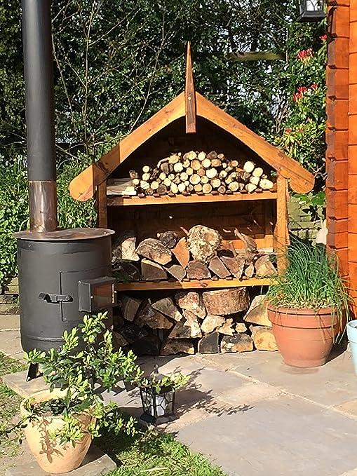 Caseta decorativa de jardín para guardar la leña, hecha a mano en ...