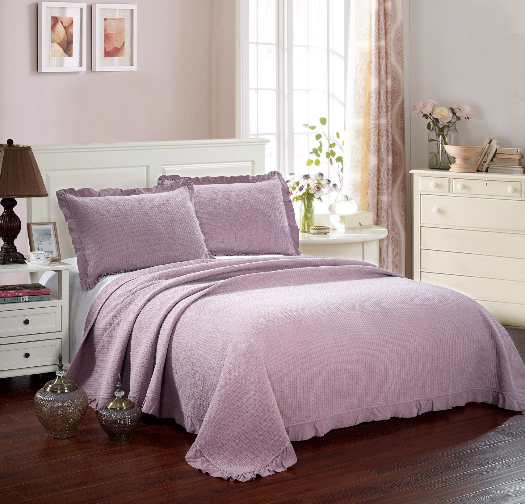 3 PCS Solid Modern Patchwork Stitching Quilt Set,Cotton Soft Lightweight Bedspread/Coverlet/Bed Cover with Ruffle Floral Edge,Full/Queen(86''x94''),Purple Grey,Hypoallergenic