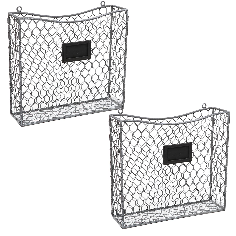 Amazon.com: MyGift Metal Wire Wall Mounted Magazine, File & Mail ...