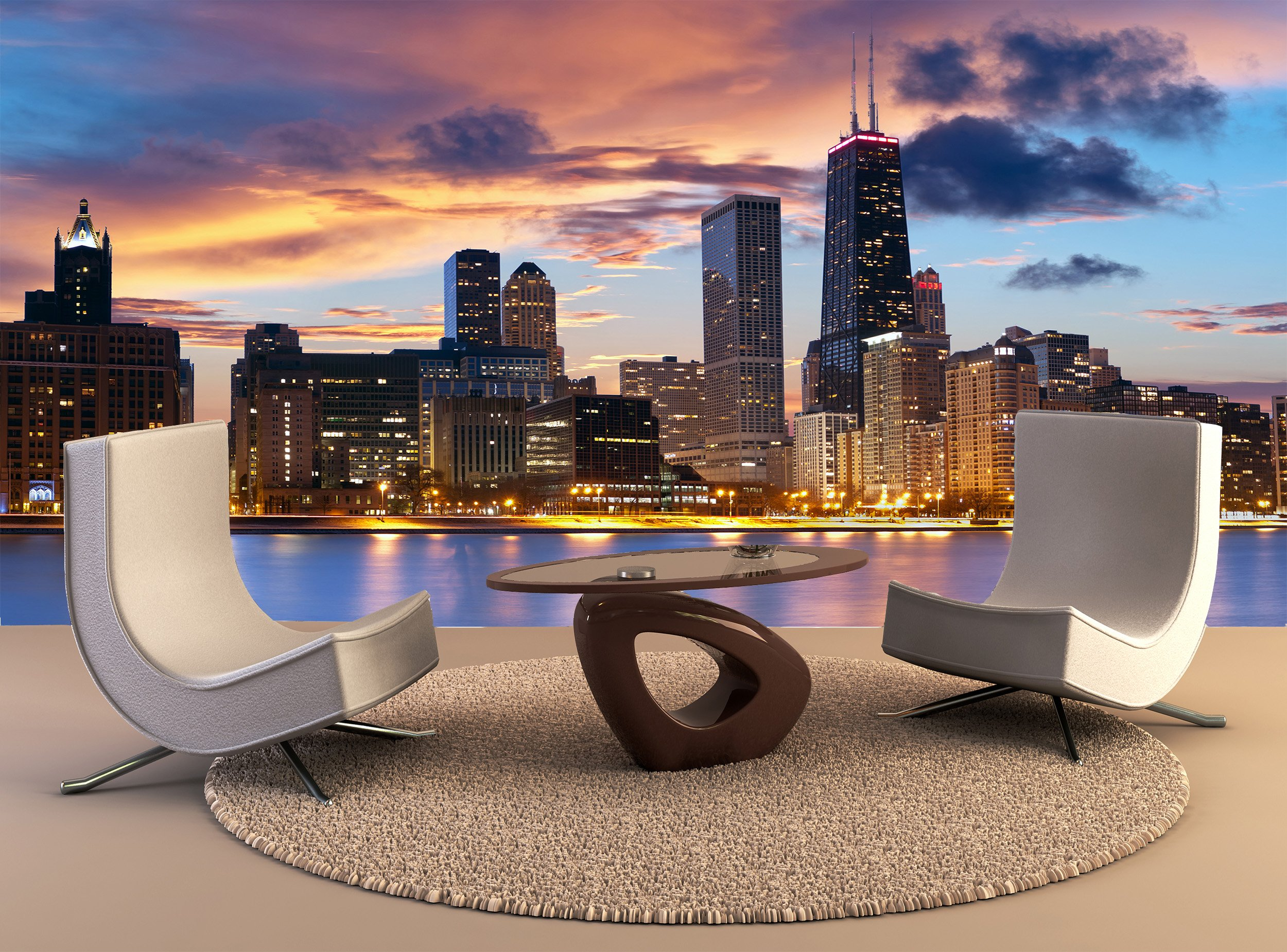 Photo Wall Mural Chicago Skyline Wall Art Decor Photo Wallpaper Poster Print by Premium Wall Murals (Image #1)