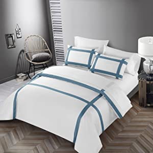 Casabolaj Equilibrio Duvet Covers Set 3 Pieces Do Not Include Filling Casual Modern Minimalist Style 100% Egyptian Cotton Sateen Luxury 400 Thread Count Cross Patchwork Manufacturing(White/Blue,Queen)
