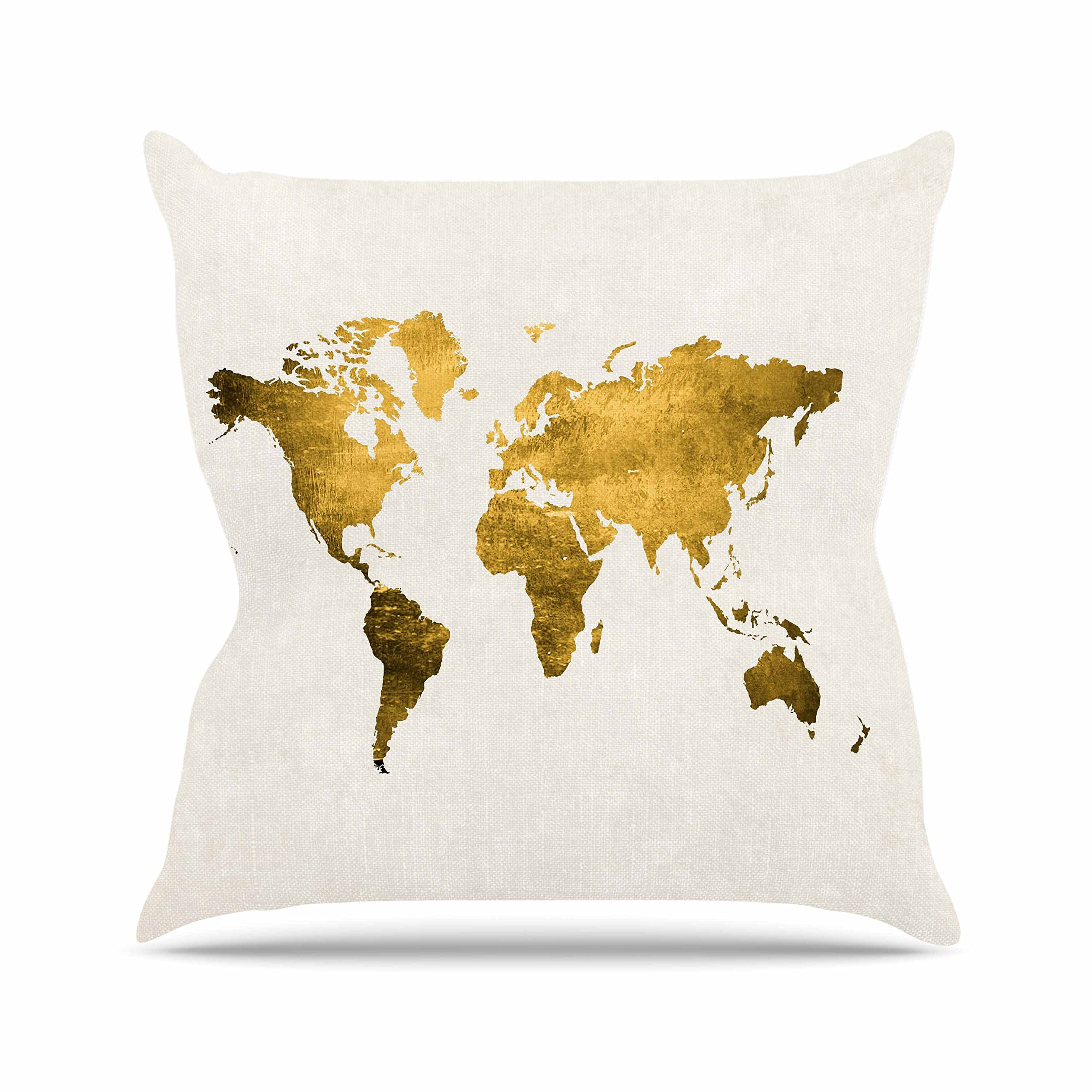 Kess InHouse Chelsea Victoria Let Love Light The Way Gold Love Outdoor Throw Pillow, 16'' x 16''