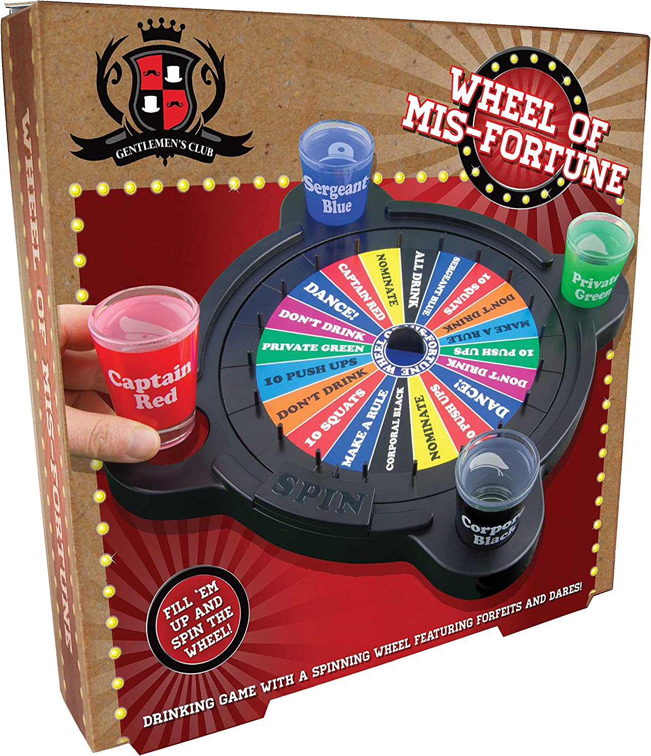 Paladone Wheel of Mis-Fortune Drinking Game with Shot Glasses ...