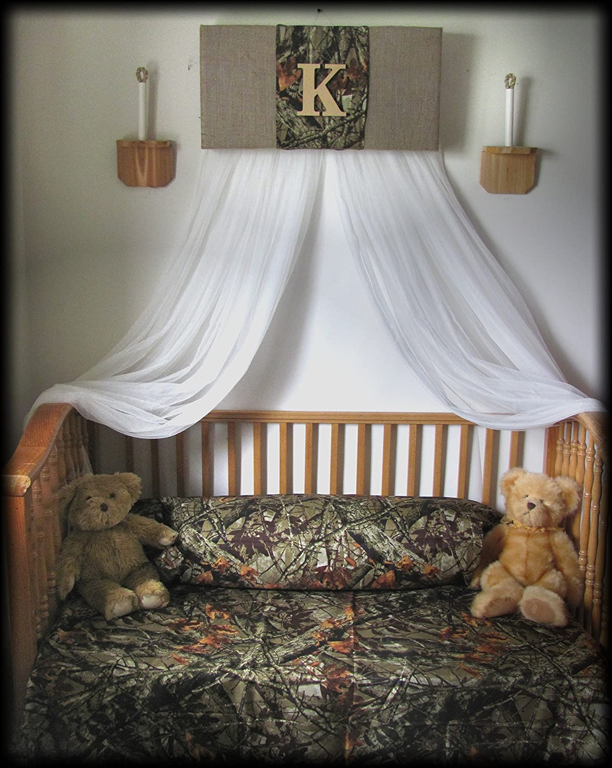 Amazon.com Crib Canopy boy nursery Bedroom Realtree Camouflage Mossy Oak cornice BuRLAP Camo Baby HunT WHITE sheer curtains Bed So Zoey Boutique SaLe ... & Amazon.com: Crib Canopy boy nursery Bedroom Realtree Camouflage ...