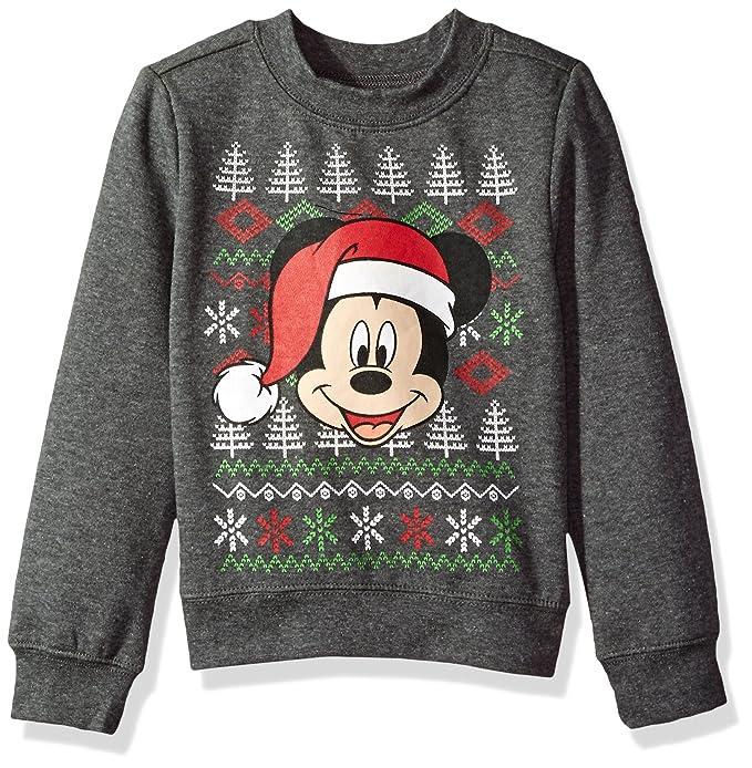 disney toddler boys mickey christmas long sleeved crew sweatshirt heather grey 3t - Disney Christmas Sweaters