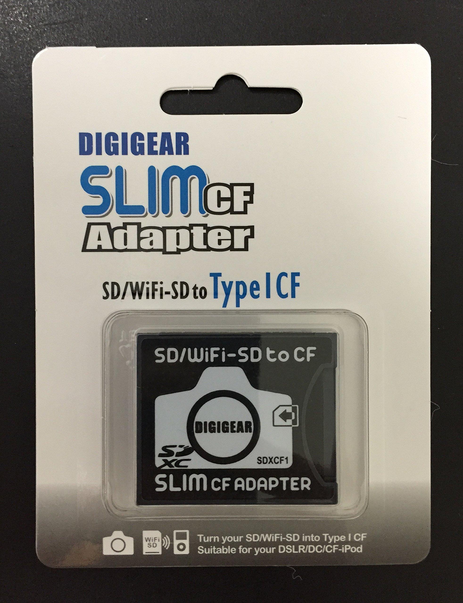 DIGIGEAR SLIM CF Adapter : SD SDHC SDXC WiFi-SD eyefi to Type I Compact Flash Card