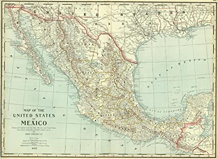 Amazon.com: Vintage Map   1888 Map of the United States of Mexico ...
