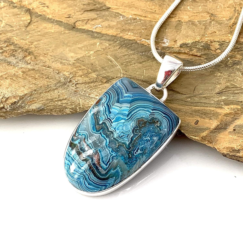 Laguna Lace Agate Pendant in Sterling Silver