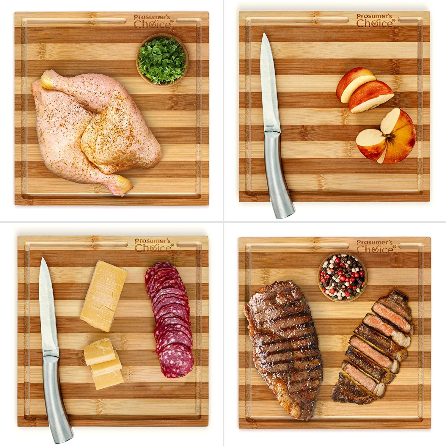 Prosumers Choice Bamboo Cutting Board and Single Burner Stovetop Cover Cheese Platter Aleratec