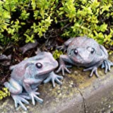 Pair Of Large Bronze Frog Ornaments Distressed Vintage Shabby Chic Style  Home