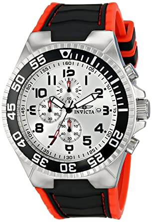 Invicta Mens 12411 Pro Diver Chronograph Silver Dial Black and Red Polyurethane Watch