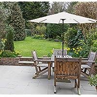 GlamHaus Parasol de Jardin en Acier Robuste pour extérieur 2,7 m Crème