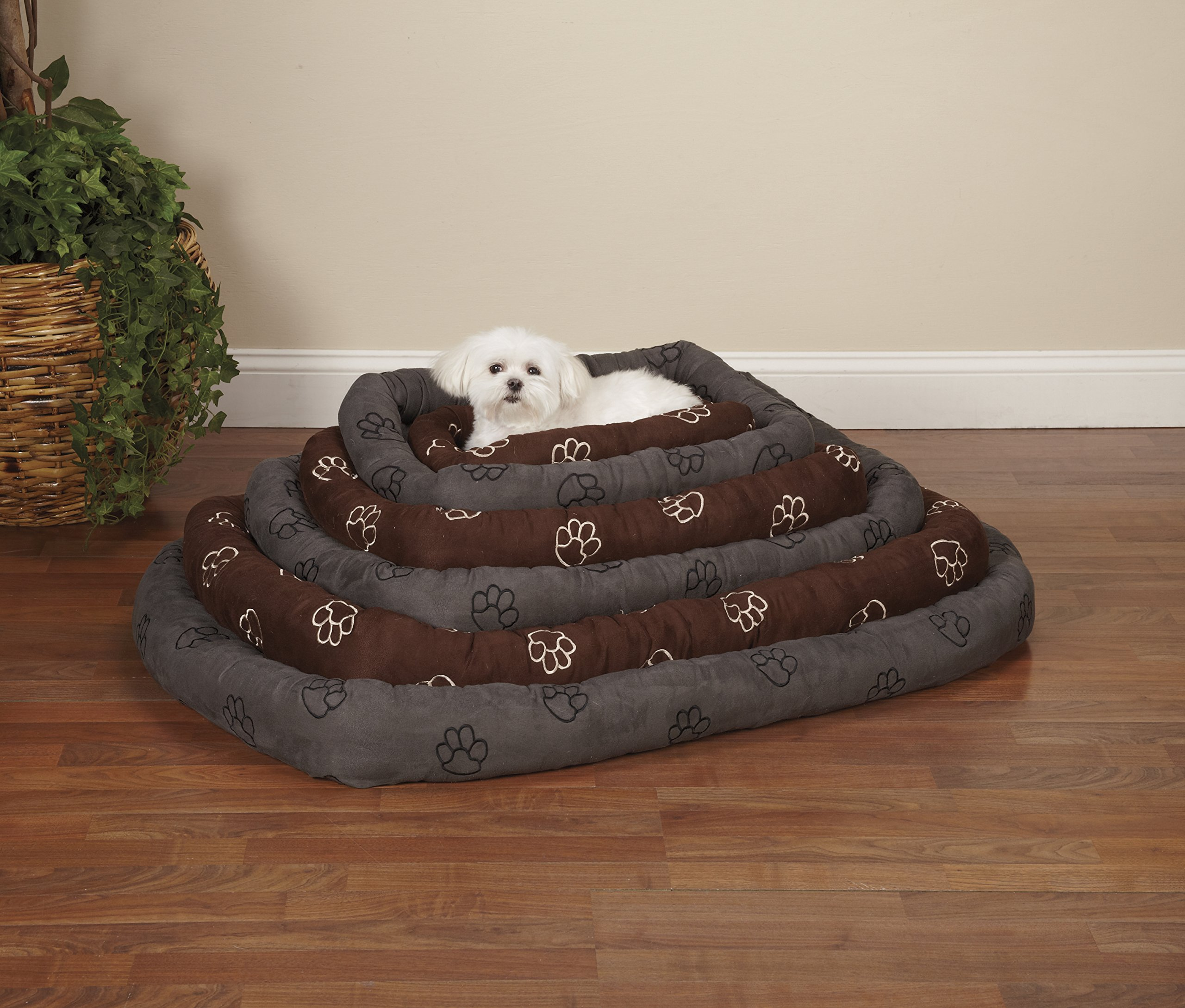 Slumber Pet Embroidered Pawprint Crate Beds - Soft and Extra-Durable Beds for Dogs and Cats - Medium/Large, 353/4'' L x 223/4'' W, Chocolate by Slumber Pet (Image #2)