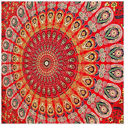 72 Inches Round Tapestry, Multicolor Twin Blue Tie Dye Bohemian Tapestry Elephant Star Mandala Tapestry GLOBUS CHOICE INC